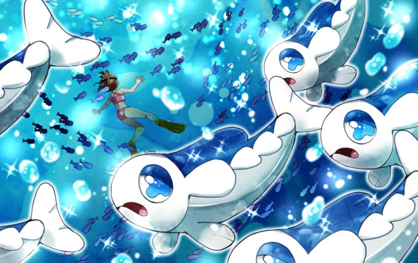 1girl air_bubble bikini blue_eyes brown_hair bubble flippers gen_7_pokemon pink_bikini pokemon school_of_fish swimsuit underwater wishiwashi yoru_(butterflykixx)