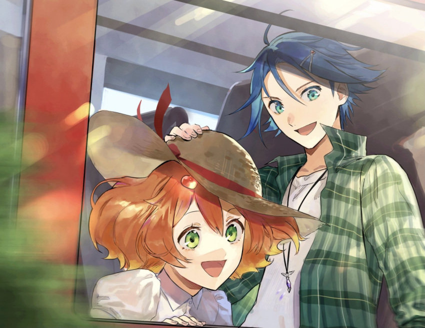 1boy 1girl blonde_hair blue_eyes blue_hair collar_up collared_shirt freyja_wion gradient_hair green_eyes ground_vehicle hair_ornament hand_on_another's_head hat hayate_immelmann heart heart_hair_ornament jewelry juliet_sleeves long_sleeves looking_down macross macross_delta multicolored_hair necklace open_mouth orange_hair plaid plaid_shirt pote-mm puffy_sleeves shirt short_hair smile straw_hat sun_hat train window