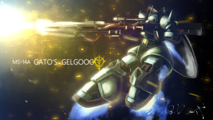 character_name dated firing from_side gelgoog_anavel_gato_custom gun gundam gundam_0083 holding holding_gun holding_weapon mecha mobile_suit no_humans one-eyed red_eyes science_fiction serike_w signature solo weapon zeon