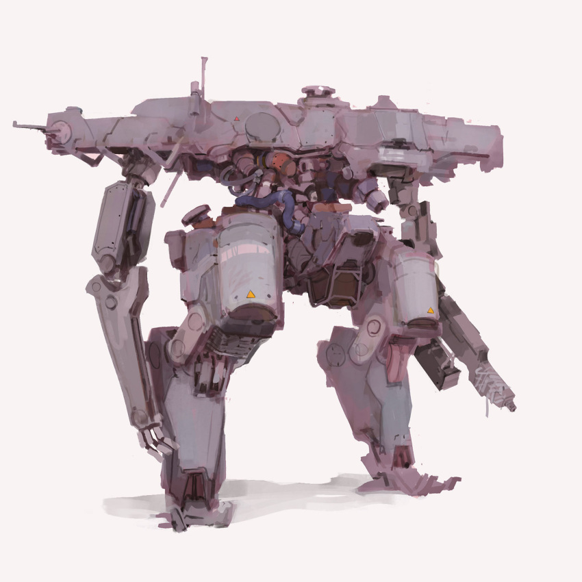 aedel_fakhrie arm_cannon beige_background cable highres mecha no_humans open_hand original radio_antenna science_fiction solo standing weapon