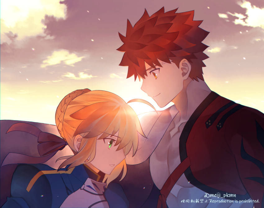 1boy 1girl ahoge armor armored_dress artoria_pendragon_(all) blonde_hair bow braid closed_mouth clouds couple emiya_shirou face-to-face fate/grand_order fate/stay_night fate_(series) green_eyes hair_bow headband meiji_ken orange_eyes redhead saber sengo_muramasa_(fate) shiny sky sunlight watermark