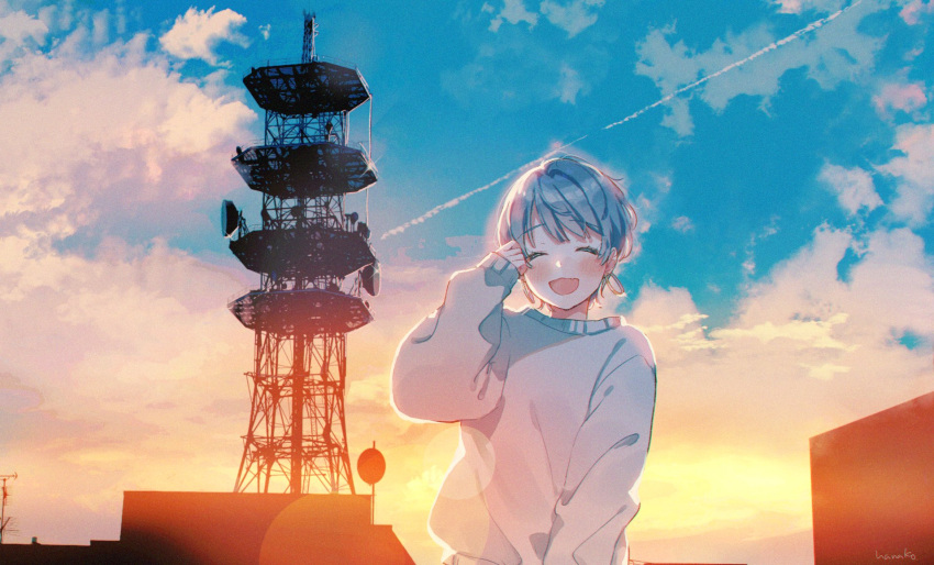1girl :d artist_name backlighting bangs blush closed_eyes clouds condensation_trail eyebrows_visible_through_hair facing_viewer fang hanako151 hand_up highres jewelry long_sleeves open_mouth original outdoors radio_antenna radio_tower short_hair signature sky skyline sleeves_past_wrists smile solo sunset sweater upper_body white_sweater