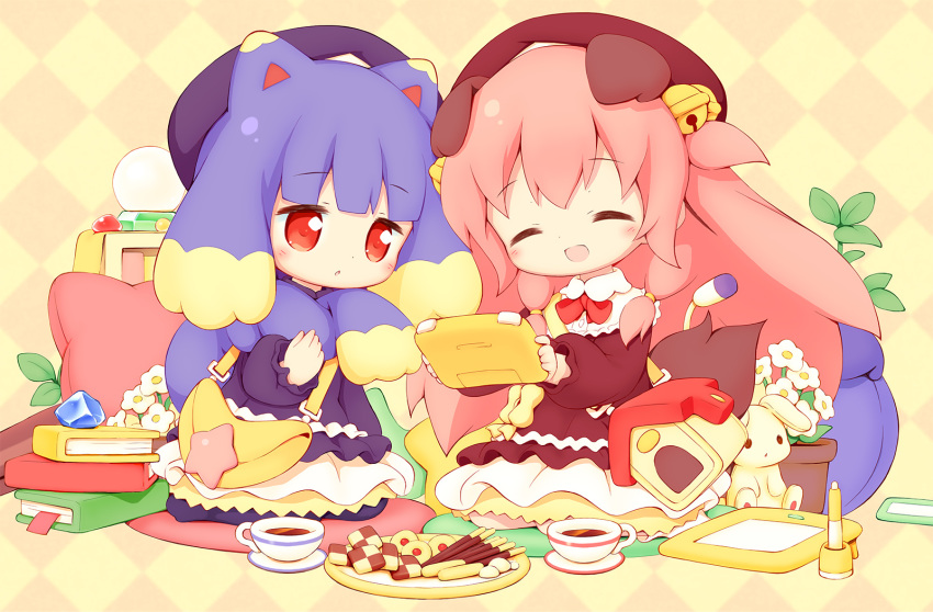 2girls :d ^_^ aikei_ake animal_ears argyle argyle_background bag bell beret black_dress black_headwear blonde_hair blush book book_stack brown_dress brown_headwear checkerboard_cookie closed_eyes commentary_request cookie cup dog_ears dog_tail drawing_tablet dress flower flower_pot food hair_bell hair_ornament handheld_game_console hat highres holding jingle_bell long_hair long_sleeves multicolored_hair multiple_girls open_mouth original parted_lips pink_hair pocky puffy_long_sleeves puffy_sleeves purple_hair red_eyes saucer shoulder_bag smile stuffed_animal stuffed_bunny stuffed_toy tail two-tone_hair two_side_up very_long_hair white_flower