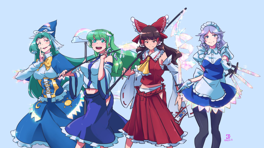 4girls apron ascot blue_capelet blue_dress blue_eyes blue_skirt blush bow braid breasts brown_eyes brown_hair capelet cirno collared_shirt corset david_hrusa detached_sleeves dress frilled_apron frilled_skirt frills frog frog_hair_ornament gloves gohei green_eyes green_hair hair_bow hair_ornament hair_tubes hakurei_reimu hat highres izayoi_sakuya japanese_clothes knife kochiya_sanae long_hair long_skirt maid maid_apron maid_headdress medium_hair miko mima_(touhou) moon multiple_girls nontraditional_miko open_mouth puffy_short_sleeves puffy_sleeves rainbow red_bow red_skirt ribbon shirt short_sleeves silver_hair skirt sleeveless smile snake snake_hair_ornament staff sun touhou touhou_(pc-98) twin_braids unconnected_marketeers white_gloves white_shirt witch_hat wizard_hat yellow_neckwear
