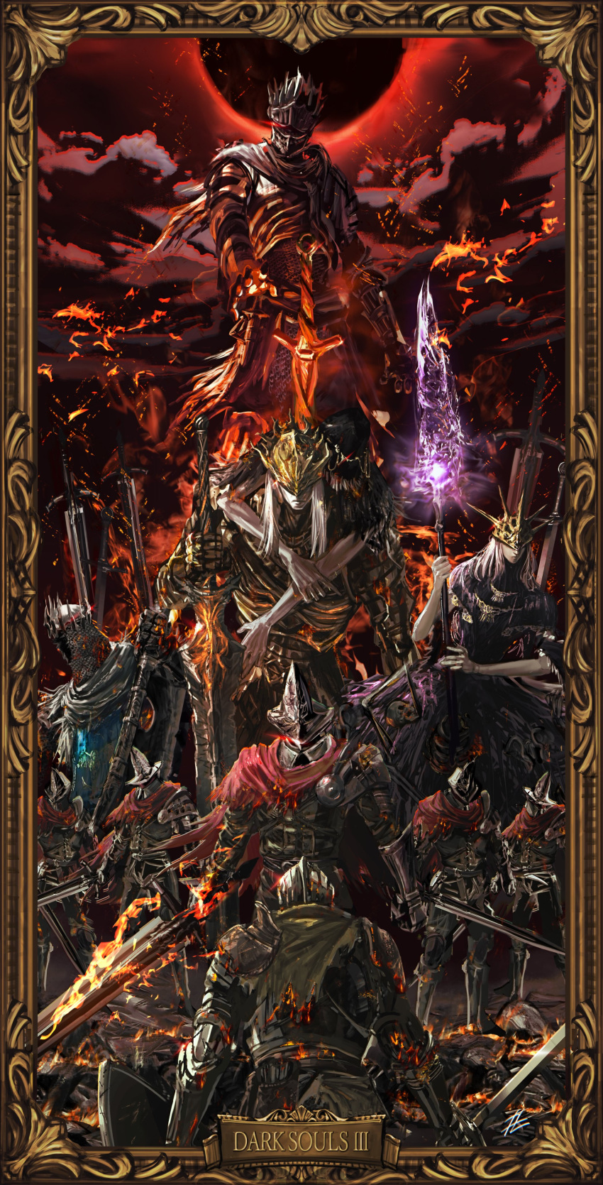 6+boys absurdres abyss_watcher aldrich_devourer_of_gods armor arms_around_neck ashen_one_(dark_souls_3) boots breastplate brothers burning cape capelet carrying chainmail cleaver closed_mouth clouds cloudy_sky covered_eyes crown dagger dark_souls dark_souls_iii eclipse embers english_text fire from_behind full_armor gauntlets giant glowing greaves hand_on_own_arm helmet highres holding holding_polearm holding_sword holding_weapon hood hood_up knight long_hair looking_at_viewer lorian_(elder_prince) lothric_(younger_prince) machete mask mrpk multiple_boys outdoors pale_skin pants pauldrons picture_frame piggyback planted_sword planted_weapon polearm red_eyes robe shield shoulder_armor siblings silver_hair skeleton skull sky soul_of_cinder souls_(from_software) standing sword weapon white_hair yhorm_the_giant