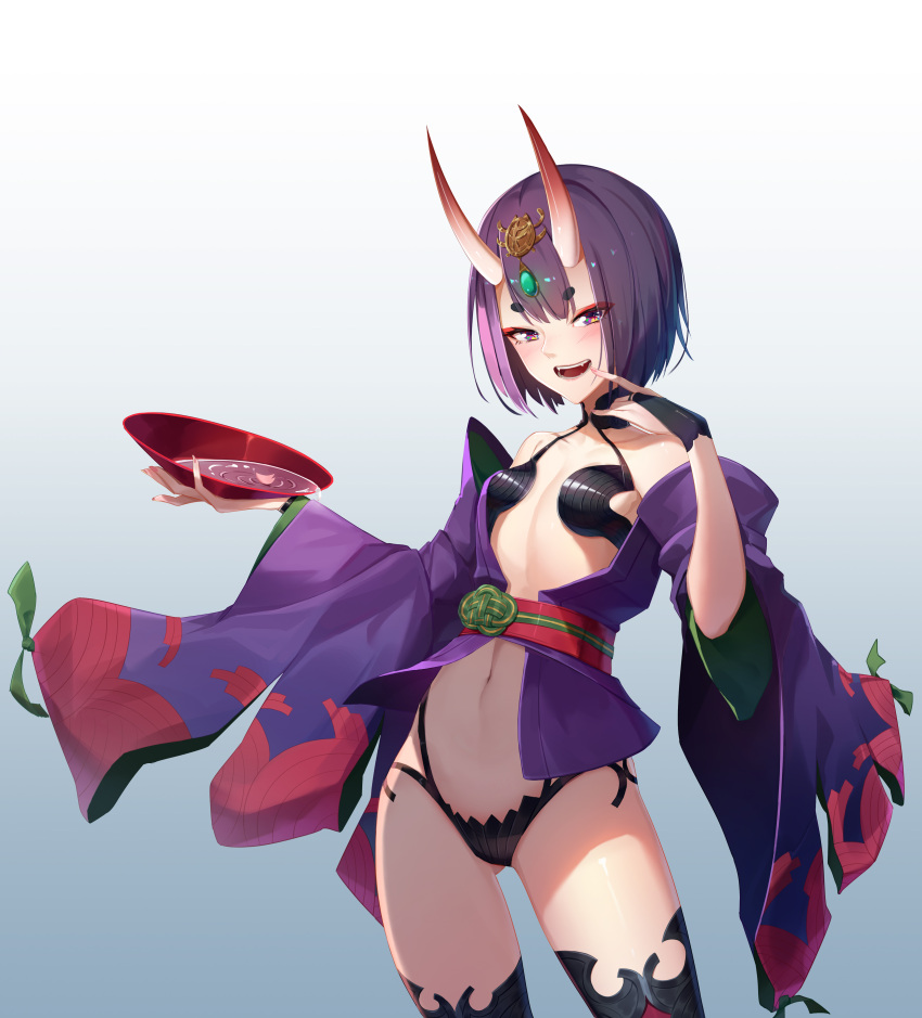 1girl absurdres ar_(3779609928) bob_cut breasts cup eyeliner fate/grand_order fate_(series) headpiece highres horns japanese_clothes kimono makeup navel oni oni_horns open_clothes open_kimono purple_hair purple_kimono revealing_clothes sakazuki short_eyebrows short_hair shuten_douji_(fate) skin-covered_horns small_breasts solo violet_eyes