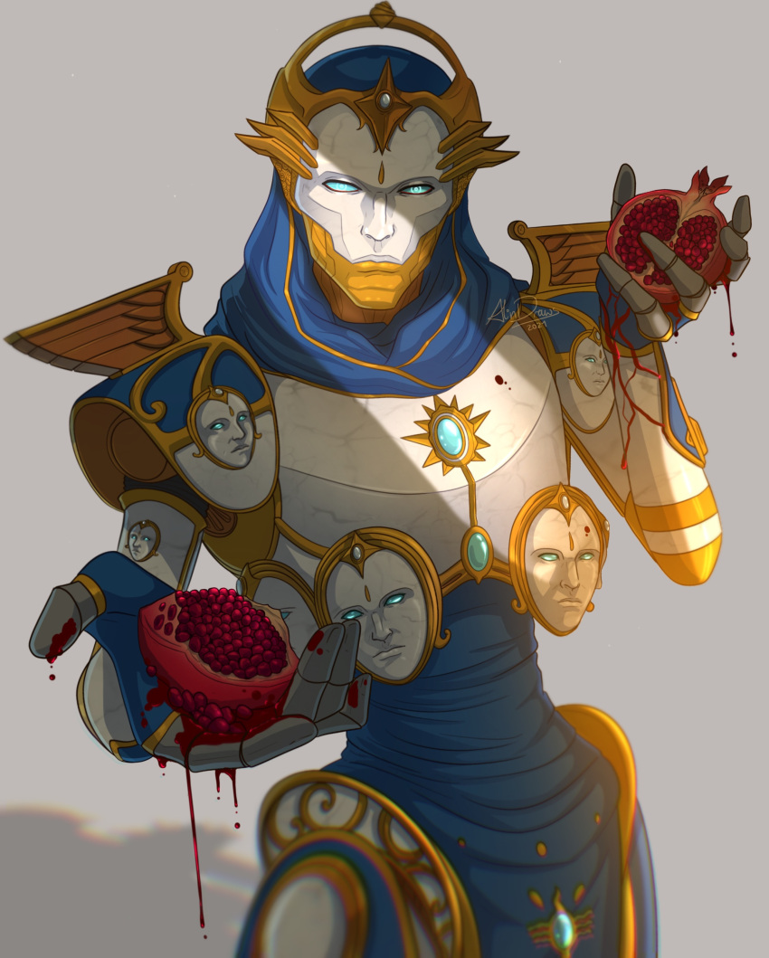 1boy absurdres alindraws apex_legends artist_name blue_eyes blue_gloves expressionless extra_faces fingerless_gloves food fruit gloves grey_background highres holding holding_food holding_fruit leaning_back looking_at_viewer male_focus md5_mismatch no_humans pomegranate revenant_(apex_legends) science_fiction shadow simulacrum_(titanfall) solo