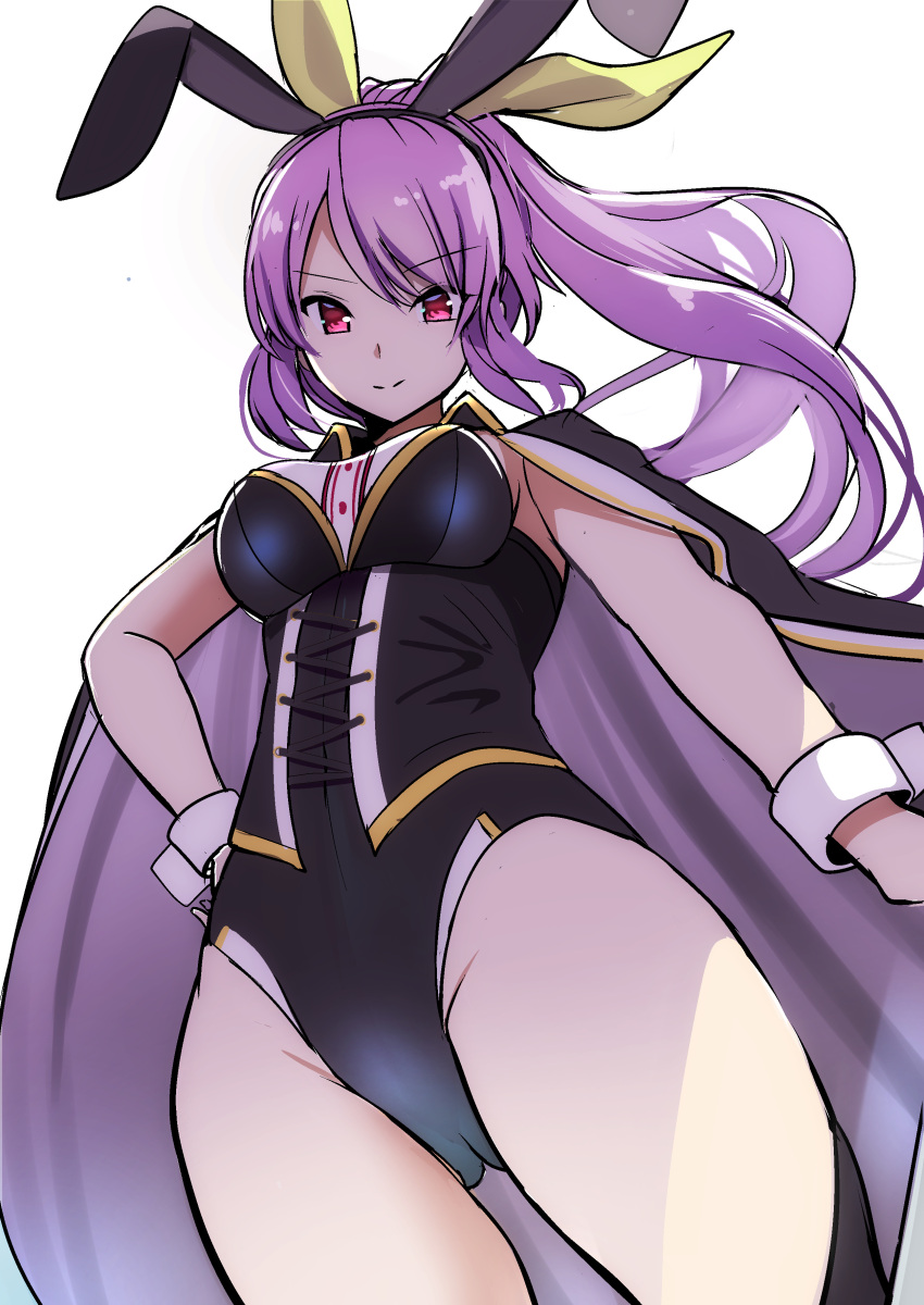 1girl absurdres amisu black_leotard breasts cape closed_mouth floating_hair hair_ribbon highres leotard light_smile long_hair looking_at_viewer medium_breasts one-hour_drawing_challenge ponytail purple_hair red_eyes ribbon simple_background solo touhou touhou_lost_word watatsuki_no_yorihime white_background wrist_cuffs