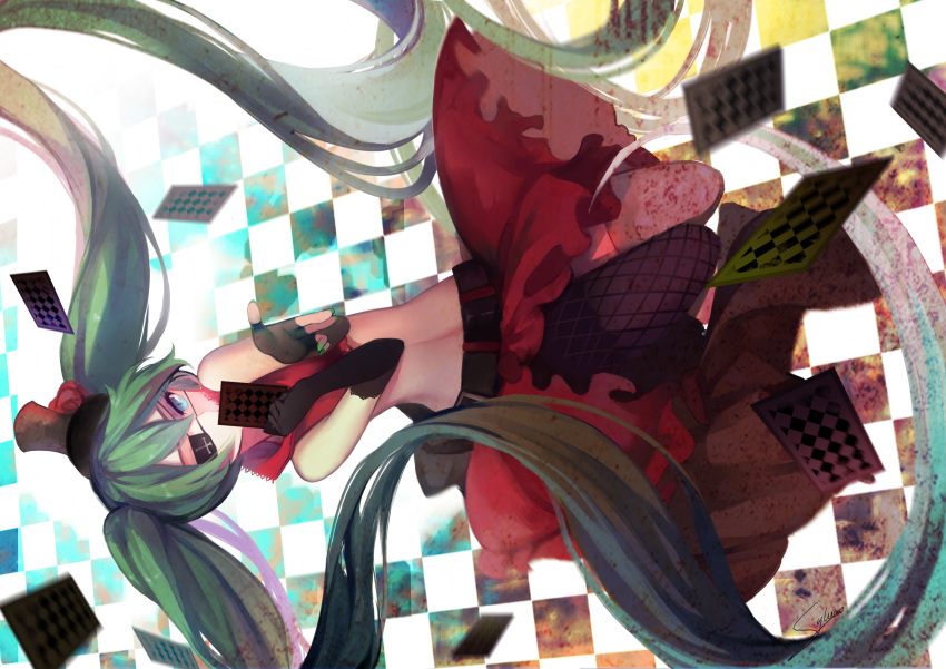 1girl absurdly_long_hair absurdres aqua_nails asymmetrical_gloves asymmetrical_legwear bangs belt card checkered checkered_background covering_mouth elbow_gloves eyepatch fingerless_gloves fishnet_legwear fishnets gloves green_hair hair_between_eyes hat hatsune_miku highres holding holding_card long_hair midriff nail_polish navel playing_card skirt slyvia solo thigh-highs top_hat twintails very_long_hair vocaloid