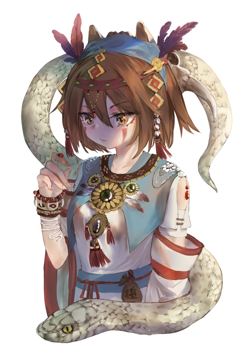 1girl adapted_costume alternate_costume breasts bug closed_mouth denpajin-ryuushi detached_sleeves facial_tattoo feathers hair_feathers hairband highres insect jewelry ladybug looking_at_animal medium_breasts necklace short_hair snake suzumiya_haruhi suzumiya_haruhi_no_yuuutsu tattoo tribal upper_body white_background