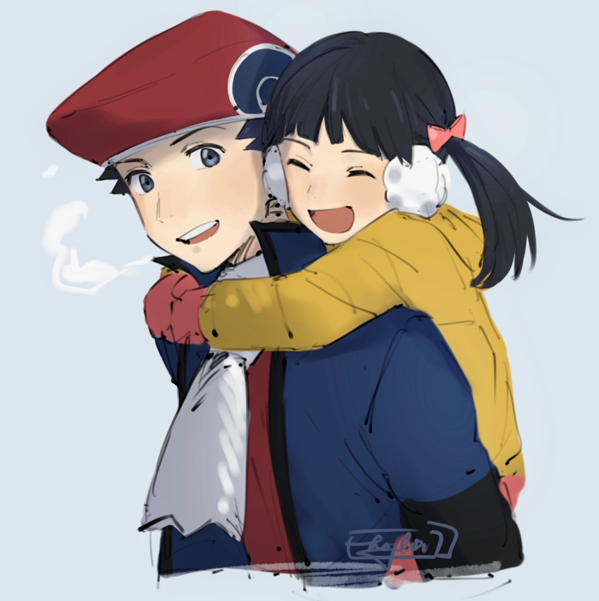 1boy 1girl bangs black_hair brother_and_sister closed_eyes commentary english_commentary grey_eyes hair_ribbon hat hazel0217 highres hug hug_from_behind jacket long_sleeves looking_at_viewer lucas_(pokemon) mittens open_clothes open_jacket open_mouth pink_mittens pokemon pokemon_(game) pokemon_dppt pokemon_platinum red_headwear ribbon scarf siblings sketch smile teeth tongue twintails |d