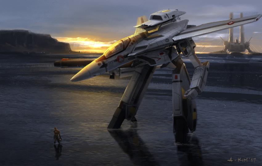 1boy 2017 andrewkimart choujikuu_yousai_macross clouds dated gerwalk gunpod highres landing macross mecha oean pilot realistic science_fiction sdf-1 shore signature space_craft storm_attacker vf-1 vf-1s