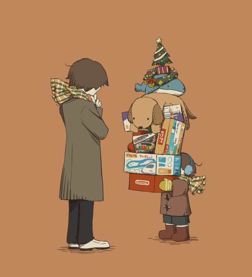 2boys avogado6 black_pants boots box brown_coat brown_footwear child christmas_tree christmas_wreath coat earmuffs gift grey_coat height_difference highres holding lego multiple_boys nintendo orange_background pants scarf shoes simple_background striped striped_scarf stuffed_animal stuffed_dog stuffed_toy stuffed_whale thinking whiet_shoes