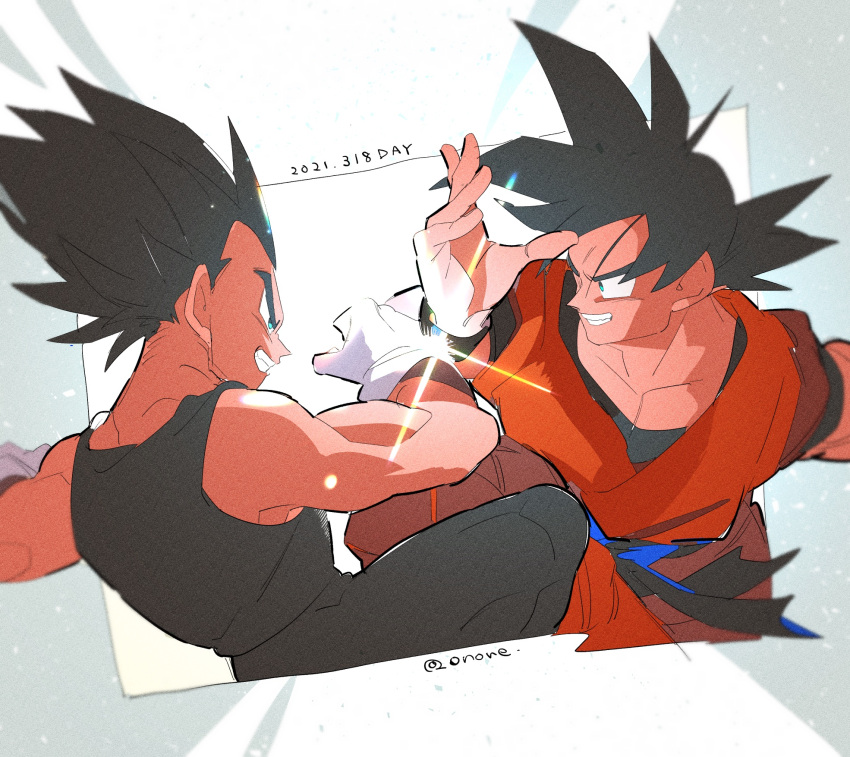 2021 2boys aqua_eyes backlighting belt black_hair black_legwear blue_belt blurry clenched_teeth depth_of_field dragon_ball dragon_ball_z dutch_angle eye_contact face-to-face facing_viewer fighting fighting_stance fingernails gloves grin highres knee_up lens_flare light light_particles light_rays looking_at_another male_focus multiple_boys muscular onore orange_shirt outside_border pectorals profile shaded_face shirt smile son_goku spiky_hair tank_top teeth twitter_username upper_body vegeta white_gloves