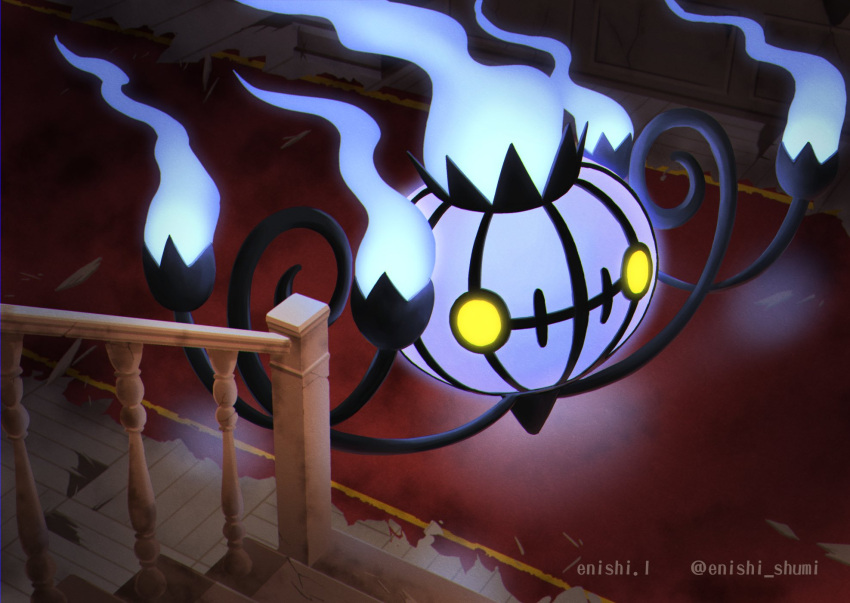 artist_name blue_fire carpet chandelure commentary_request enishi_(menkura-rin10) fire from_above gen_5_pokemon highres indoors no_humans pokemon pokemon_(creature) solo stairs watermark yellow_eyes