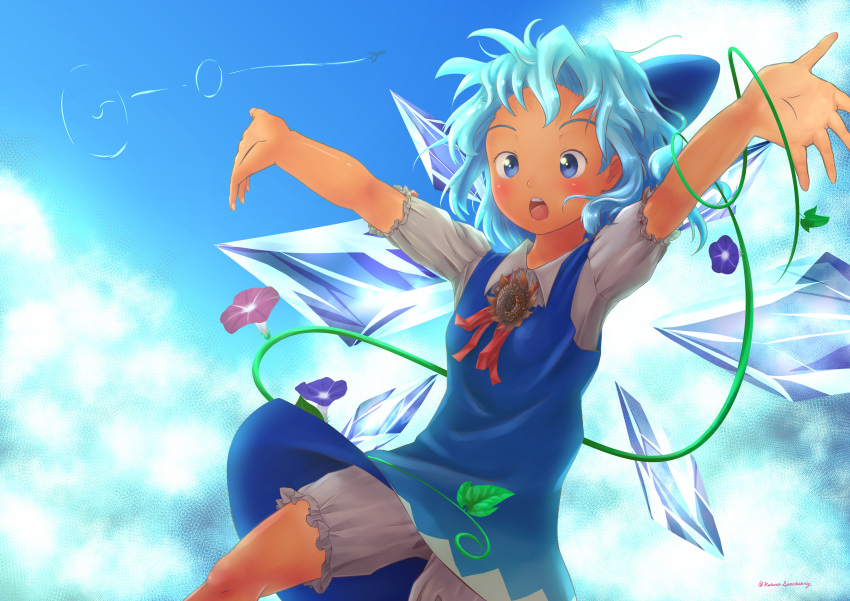 2girls absurdres arms_up artist_name bangs bloomers blue_background blue_bow blue_dress blue_eyes blue_hair blue_sky blue_theme blush bow brown_flower buttons cirno clouds collared_shirt commentary_request condensation_trail crystal dark_skin dark_skinned_female day dress flat_chest flower forehead hair_bow highres ice ice_wings katsura_dendou multiple_girls neck_ribbon open_mouth outdoors outstretched_arms pink_flower plant puffy_short_sleeves puffy_sleeves purple_flower red_neckwear red_ribbon ribbon shameimaru_aya shiny shiny_hair shirt short_hair short_sleeves sidelocks signature silhouette sky sleeveless sleeveless_dress solo_focus spread_arms standing sunflower tanned_cirno teeth tongue touhou twitter_username underwear vines white_shirt wings