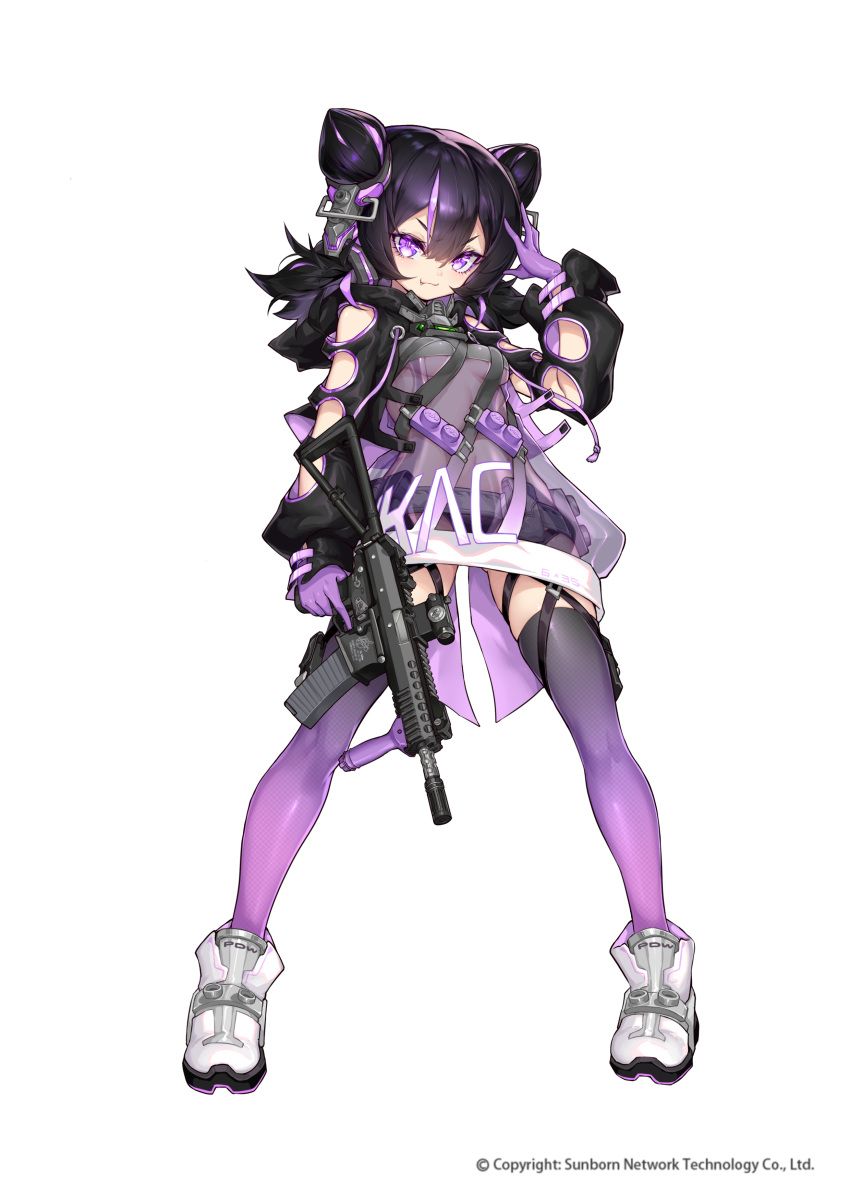 1girl absurdres arm_up bangs black_hair boots breasts closed_mouth double_bun eyepatch full_body girls_frontline gloves gradient gradient_legwear gun hair_between_eyes hair_cones hair_ornament highres holding holding_gun holding_weapon kac-pdw kac-pdw_(girls_frontline) long_hair looking_at_viewer official_art panties purple_gloves purple_hair purple_legwear scope see-through shanyao_jiang_tororo shoes small_breasts smile sneakers solo standing submachine_gun thigh_strap thighs transparent_background trigger_discipline underwear violet_eyes weapon white_footwear