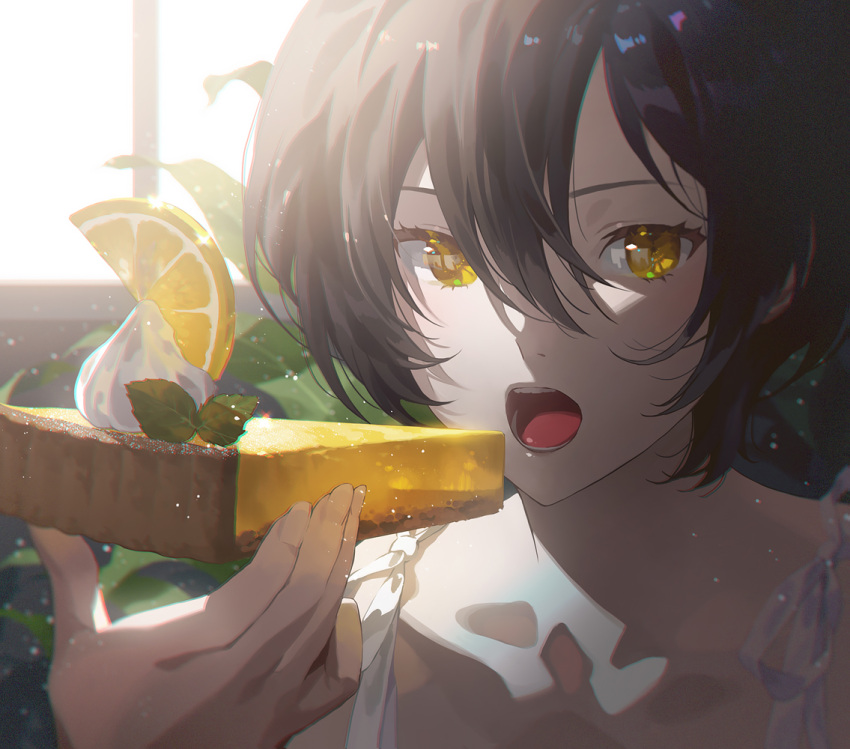 1girl bangs black_hair cake cake_slice character_request copyright_request day eating fajyobore food fruit hair_between_eyes holding holding_food icing indoors lemon lemon_slice looking_at_viewer open_mouth plant potted_plant short_hair solo teeth tongue window yellow_eyes