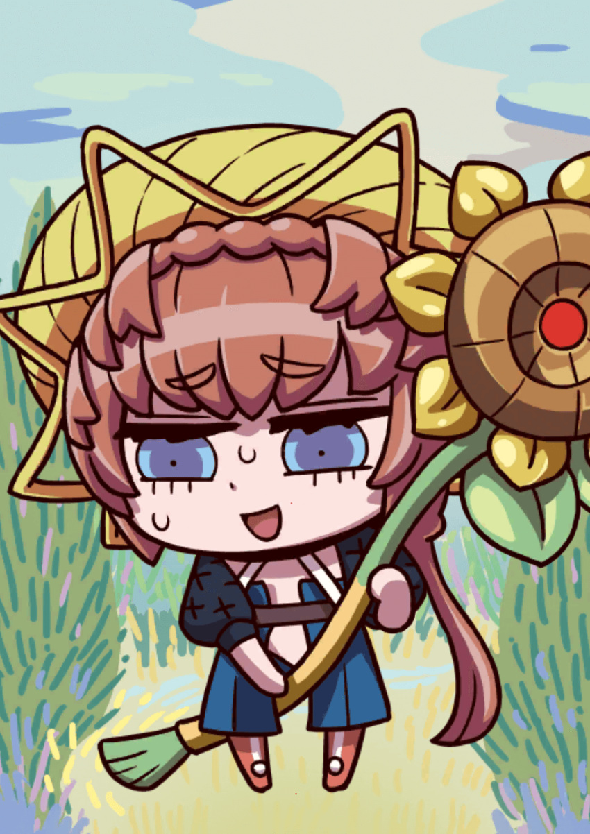 1girl april_fools braid brown_hair chibi crown_braid fate/grand_order fate_(series) flower grass hat highres holding holding_brush holding_flower long_hair looking_down official_art open_mouth riyo_(lyomsnpmp) smile solo straw_hat sunflower sweat van_gogh_(fate)