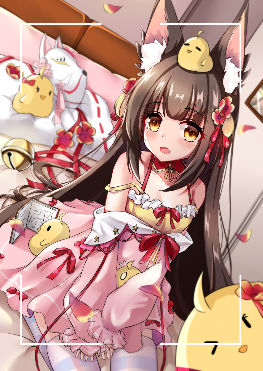 1girl absurdres animal animal_ear_fluff animal_ears animal_on_head azur_lane bangs bird black_hair brown_eyes camisole chick commentary_request dress dutch_angle eyebrows_visible_through_hair fox_ears fox_mask highres long_hair long_sleeves manjuu_(azur_lane) mask mask_removed nagato-chan nagato_(azur_lane) nagato_(fox_vacation_day)_(azur_lane) off_shoulder official_alternate_costume on_head pink_dress puffy_long_sleeves puffy_sleeves revision seiza sitting sleeves_past_wrists solo thigh-highs very_long_hair viewfinder white_legwear yellow_camisole
