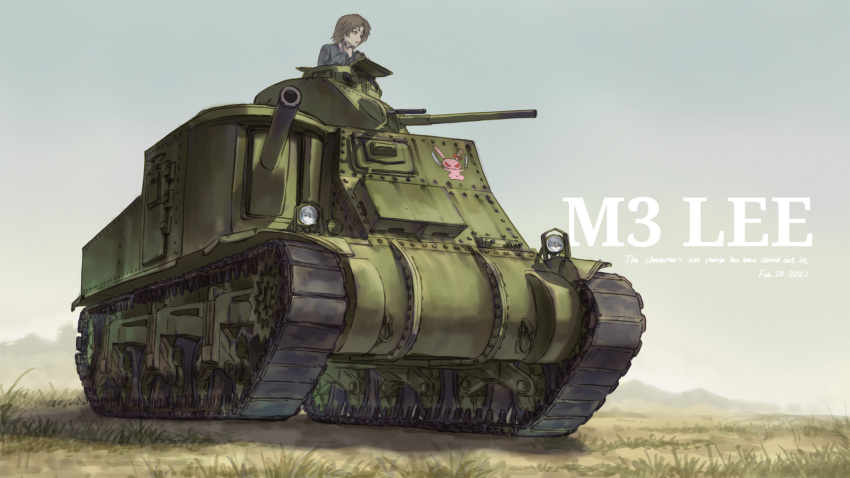 1girl absurdres binoculars brown_eyes brown_hair caterpillar_tracks commentary_request dated day emblem english_commentary girls_und_panzer grass ground_vehicle highres hill m3_lee military military_vehicle motor_vehicle ooarai_military_uniform outdoors revision sawa_azusa short_hair sky solo tank useless