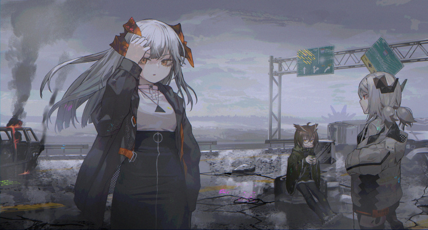 3girls ahoge animal_ears arknights bird_ears black_jacket black_legwear black_skirt blonde_hair blouse buttons car clouds cloudy_sky cracked_floor cup demon_horns dragon_horns feather_hair fire frown fur-trimmed_jacket fur_trim glasses glitch green_jacket grey_jacket grey_sky grey_theme ground_vehicle hand_in_hair high-waist_skirt highres holding holding_cup horns ifrit_(arknights) jacket jewelry long_hair looking_at_viewer metsurin motor_vehicle multiple_girls necklace off_shoulder open_clothes open_jacket orange_eyes orange_horns originium_(arknights) red_eyes road road_sign saria_(arknights) short_hair short_twintails sign silence_(arknights) silver_hair skirt sky smoke strap twintails white_blouse zipper_skirt