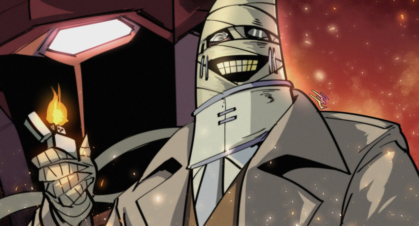 1boy bandaged_arm bandaged_head bandages big_duo fire glowing grin highres jazz_jack lighter looking_at_viewer mecha monocle neck_brace parted_lips schwarzwald smile solo teeth the_big_o