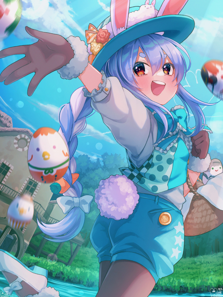 1girl :d alternate_costume animal_ear_fluff animal_ears aqua_bow aqua_neckwear aqua_vest bangs basket black_legwear blue_hair blue_headwear blue_shorts blush bow bowtie braid brown_gloves bunny-shaped_pupils bunny_tail day easter easter_egg egg frilled_bow frills fur-trimmed_gloves fur_trim gloves hair_bow hat highres hololive looking_at_viewer magowasabi mary_janes multicolored_hair open_mouth orange_eyes outdoors outstretched_arm pantyhose puffy_shorts rabbit_ears rabbit_girl shirt shoes short_eyebrows shorts sidelocks signature sky smile solo standing standing_on_one_leg tail thick_eyebrows town twin_braids twintails twitter_username two-tone_hair usada_pekora vest virtual_youtuber white_bow white_footwear white_hair white_shirt
