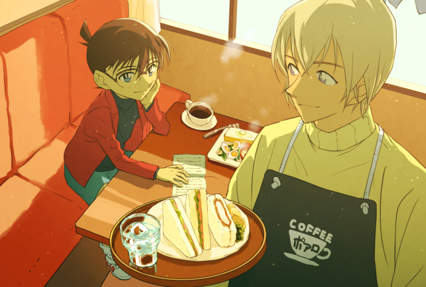 2boys amuro_tooru apron bangs black-framed_eyewear black_apron black_shirt blue_eyes blue_shorts brown_hair butter cafe cardigan child closed_mouth clothes_writing commentary_request couch cup edogawa_conan egg english_text eye_contact food fork glass glasses hair_between_eyes hand_on_own_cheek hand_on_own_face head_rest holding holding_tray indoors jacket long_sleeves looking_at_another male_focus meitantei_conan menu multiple_boys open_clothes open_jacket plate print_apron red_jacket sandwich saucer shirt shoes short_hair shorts sitting smile sneakers socks standing steam table tea teacup tray twin-mix water white_legwear window yellow_cardigan