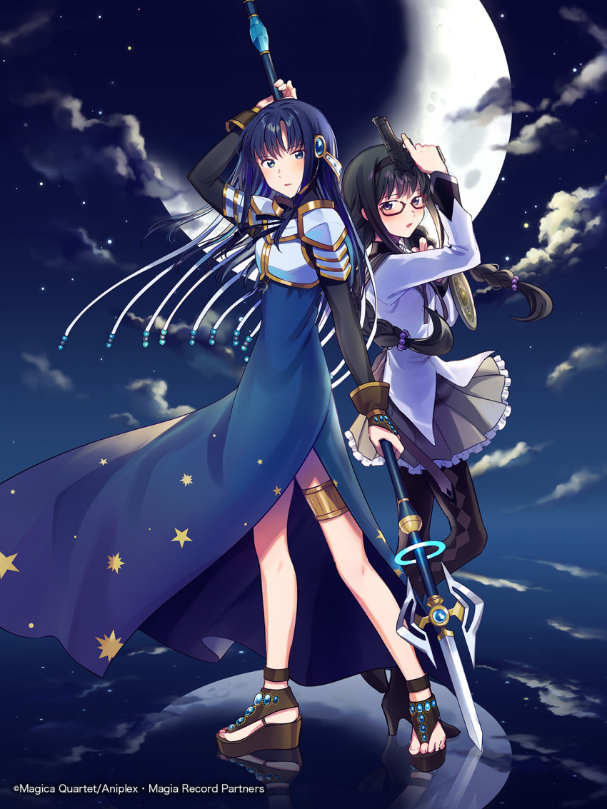 2girls akemi_homura aniplex ankle_strap argyle argyle_legwear arm_at_side arm_behind_head arm_up armor back-to-back beads black_footwear black_hair black_hairband black_legwear blue_dress blue_eyes blue_hair braid bridal_gauntlets brown_gloves clouds cloudy_sky commentary_request copyright_name cover cover_page crescent_moon dark_clouds dress eyebrows_visible_through_hair eyes_visible_through_hair fighting_stance frilled_skirt frills fuji_fujino full_body glasses gloves glowing grey_skirt gun hair_bobbles hair_ornament hairband halberd hand_up handgun height_difference high_heels highres holding holding_gun holding_polearm holding_weapon jewelry jitome light_blush long_dress long_hair long_sleeves magia_record:_mahou_shoujo_madoka_magica_gaiden mahou_shoujo_madoka_magica moon moon_necklace moonlight multiple_girls nanami_yachiyo necklace night night_sky official_art pantyhose parted_lips pauldrons pistol platform_footwear pleated_skirt polearm red-framed_eyewear reflection reflective_floor sandals serious shield shoes shoulder_armor side_slit sideways_glance skirt sky soul_gem standing star_(sky) star_(symbol) star_print starry_sky tassel thighlet toenails tsurime twin_braids violet_eyes weapon