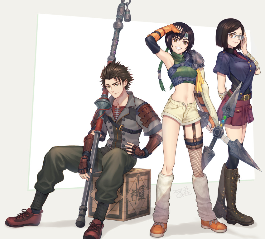 1boy 2girls arm_up black_hair box crop_top final_fantasy final_fantasy_vii final_fantasy_vii_remake fishnet_legwear fishnets glasses highres kneehighs leg_warmers looking_at_viewer multiple_girls ohse open_fly short_hair short_shorts shorts shuriken single_sleeve single_thighhigh sitting smile sonon_kusakabe spiky_hair staff strap thigh-highs yuffie_kisaragi