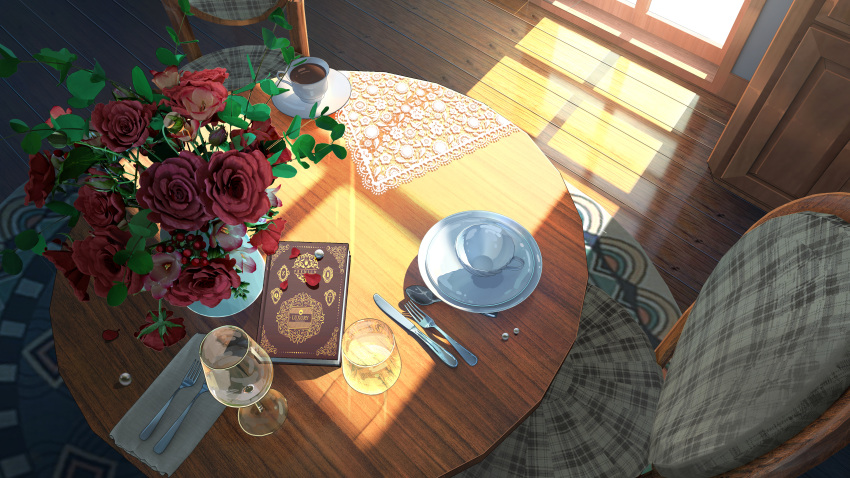 absurdres book chair cup drinking_glass flower fork from_above glass highres huge_filesize indoors knife napkin no_humans original pearl_(gemstone) rose saucer scenery shadow spoon sunlight table teacup vase window wine_glass wooden_floor xingzhi_lv
