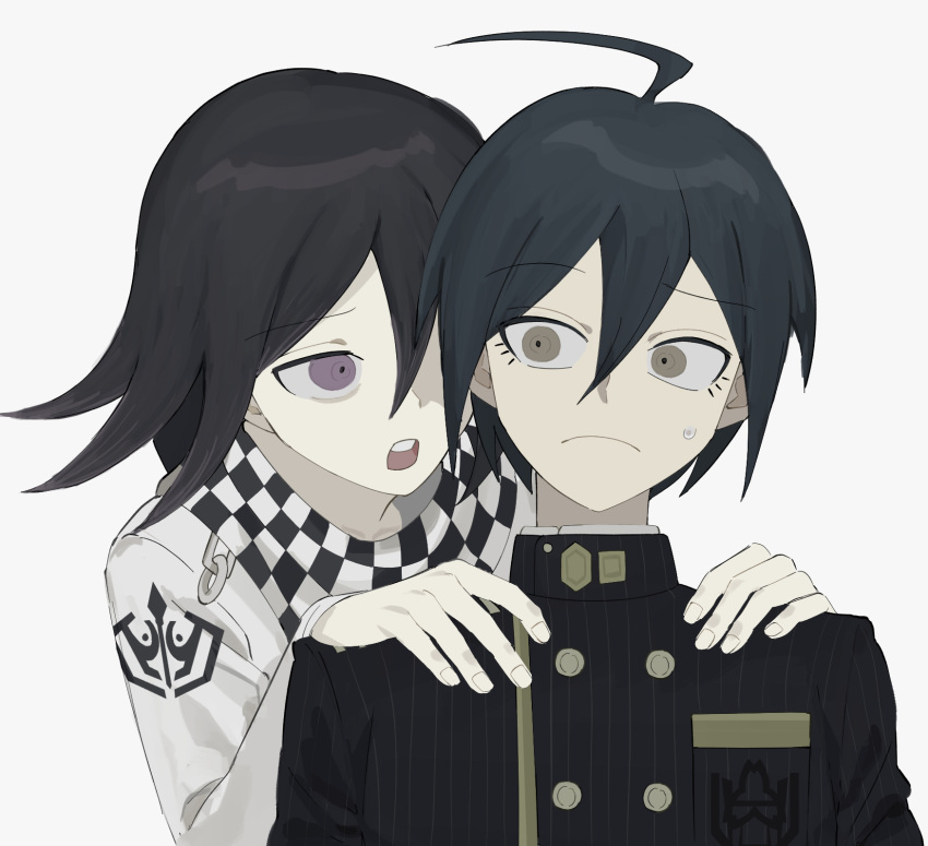 2boys ahoge bangs black_hair black_jacket breast_pocket buttons checkered checkered_background checkered_neckwear checkered_scarf commentary danganronpa_(series) danganronpa_v3:_killing_harmony double-breasted frown gakuran grey_background hair_between_eyes hands_on_another's_shoulders hhaharaa_(23454s) highres holding jacket long_sleeves looking_at_another male_focus multiple_boys open_mouth ouma_kokichi pocket saihara_shuuichi scarf school_uniform simple_background straitjacket striped sweatdrop upper_body upper_teeth vertical_stripes violet_eyes white_background