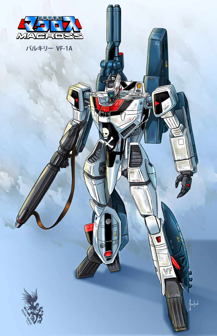 absurdres character_name choujikuu_yousai_macross copyright_name ferkad gun highres holding holding_gun holding_weapon logo macross mecha no_humans one-eyed open_hand science_fiction skull_and_crossbones solo standing vf-1 vf-1a weapon