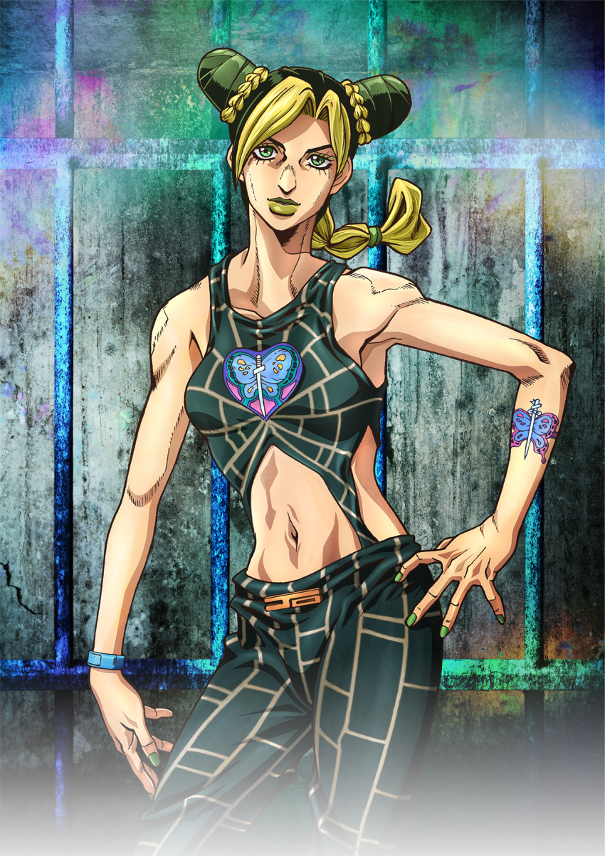 1girl arm_tattoo artist_request bare_shoulders blonde_hair braid braided_bun braided_ponytail butterfly_tattoo double_bun eyelashes green_eyes green_hair green_lips halter_top halterneck happy highres jojo_no_kimyou_na_bouken key_visual kujo_jolyne long_hair looking_at_viewer midriff multicolored_hair navel official_art sleeveless smile solo standing stone_ocean tattoo two-tone_hair upper_body