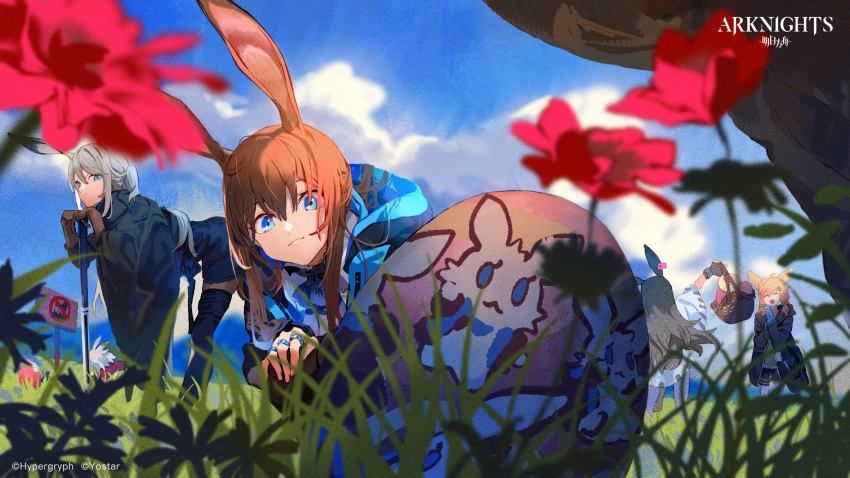 4girls amiya_(arknights) animal_ears april_(arknights) arknights black_hair blonde_hair brown_hair easter easter_egg egg grass grey_hair highres holding holding_weapon kroos_(arknights) multiple_girls official_art rabbit_ears rabbit_girl savage_(arknights) war_hammer weapon wicker_basket you_(nanban319)