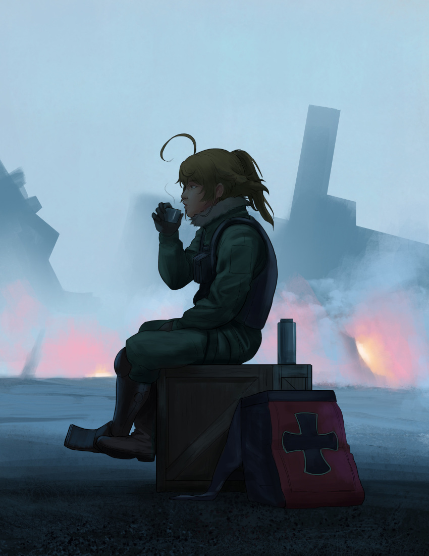 1girl absurdres ahoge bag black_gloves blonde_hair boots bottle box brown_footwear cup debris fire from_side full_body gloves highres md5_mismatch ponytail sitting smoke solo tanya_degurechaff thermos triximity wooden_box youjo_senki