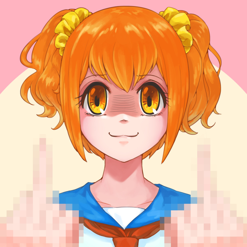 030_(pixiv_6510177) 1girl :3 absurdres bangs blue_sailor_collar censored closed_mouth collarbone commentary double_middle_finger eyebrows_visible_through_hair hair_ornament hair_scrunchie hands_up happy highres looking_at_viewer middle_finger mosaic_censoring neckerchief orange_eyes orange_hair poptepipic popuko red_neckwear sailor_collar school_uniform scrunchie serafuku shaded_face shiny shiny_hair shirt short_twintails sidelocks simple_background smile solo straight-on tied_hair twintails two-tone_background upper_body white_shirt yellow_scrunchie