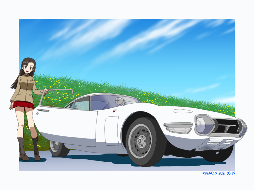 1girl artist_name asymmetrical_bangs bangs black_eyes black_footwear black_hair black_legwear blue_sky brown_jacket car chi-hatan_school_uniform clouds cloudy_sky commentary dated day girls_und_panzer grass ground_vehicle high_collar jacket long_hair long_sleeves looking_at_viewer miniskirt motor_vehicle naotosi nishi_kinuyo open_mouth outside_border pleated_skirt red_skirt school_uniform shadow shoes skirt sky smile socks solo standing straight_hair toyota_2000gt