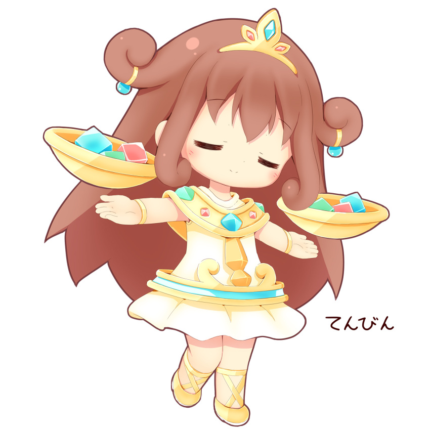 1girl aikei_ake blush bowl brown_hair chibi closed_eyes closed_mouth cube dress facing_viewer full_body highres long_hair original outstretched_arms personification shoes simple_background sleeveless sleeveless_dress smile solo standing standing_on_one_leg tiara translation_request very_long_hair white_background white_dress yellow_footwear