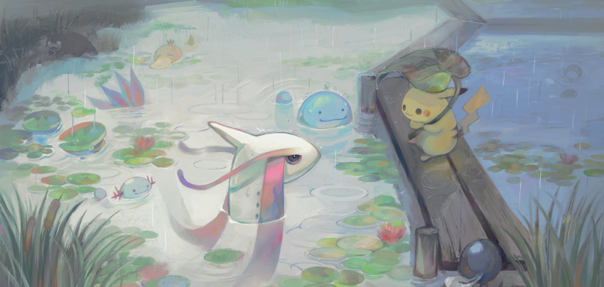 closed_mouth commentary_request eye_contact gen_1_pokemon gen_2_pokemon gen_3_pokemon gigigimimi grass highres holding holding_leaf leaf lily_pad looking_at_another lotad milotic no_humans partially_submerged pikachu pokemon pokemon_(creature) psyduck quagsire rain slowpoke smile standing water wooper