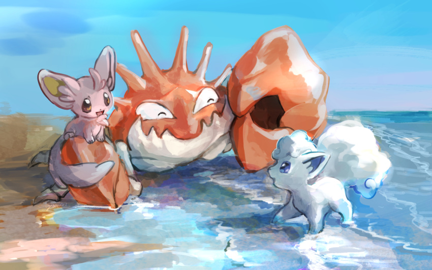 ^_^ alolan_form alolan_vulpix animal_focus artist_name beach blank_eyes blue_eyes blue_sky brown_eyes closed_eyes closed_mouth crab day day_walker1117 english_text eye_contact from_side full_body gen_1_pokemon gen_5_pokemon gen_7_pokemon happy horizon kingler looking_at_another minccino no_humans ocean open_mouth outdoors pokemon pokemon_(creature) sand signature sitting sky smile standing water