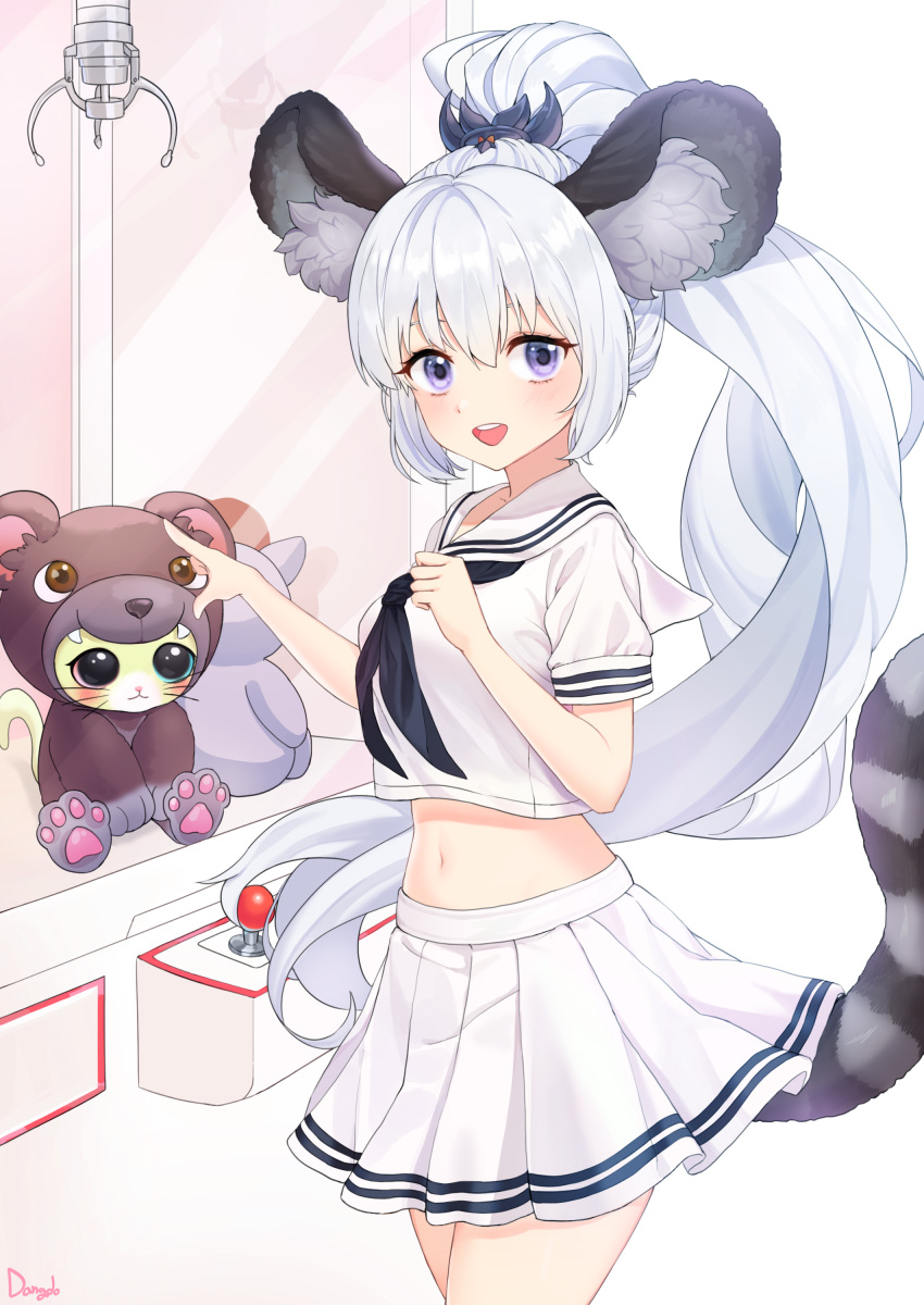 1girl absurdres animal_ear_fluff animal_ears blade_&_soul blue_eyes commission crane_game dangdo highres long_hair looking_at_viewer lyn_(blade_&_soul) midriff navel open_mouth pointing ponytail school_uniform shirt silver_hair skirt smile solo squirrel_ears squirrel_girl squirrel_tail stuffed_toy tail very_long_hair white_shirt white_skirt