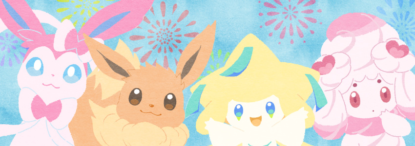 :3 :d alcremie alcremie_(love_sweet) arms_up blue_eyes bright_pupils brown_eyes closed_mouth commentary_request eevee fireworks gen_1_pokemon gen_3_pokemon gen_6_pokemon gen_8_pokemon jirachi looking_at_viewer mythical_pokemon no_humans open_mouth pokemon pokemon_(creature) punico_(punico_poke) smile sylveon