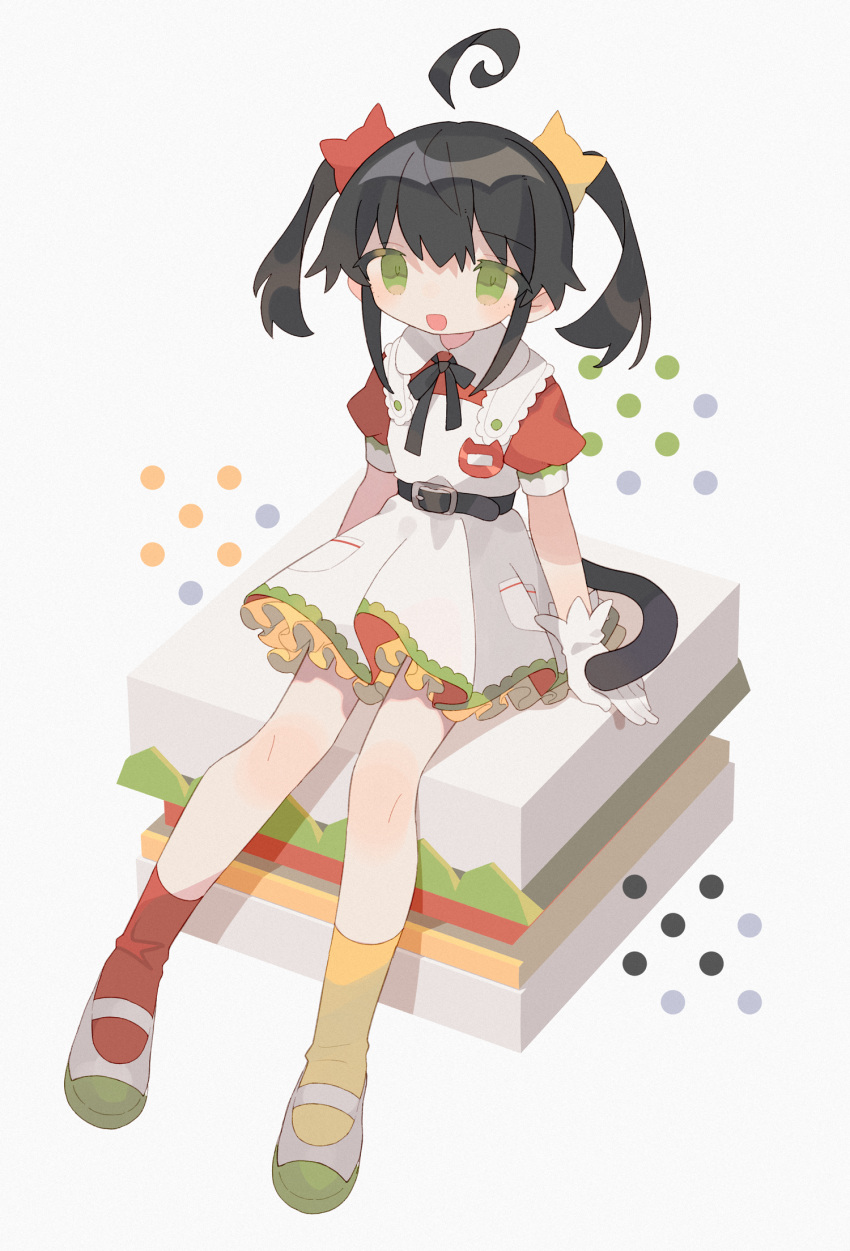 1girl :d ahoge arm_support arms_at_sides bangs belt belt_buckle black_belt black_hair black_neckwear black_ribbon black_tail buckle cat_hair_ornament cat_tail collared_shirt daizu_(melon-lemon) dress eyes_visible_through_hair film_grain floating_hair frills from_side full_body gloves green_eyes grey_background hair_ornament highres knees_together_feet_apart looking_at_viewer mismatched_legwear multicolored multicolored_eyes name_tag neck_ribbon no_nose open_mouth original petticoat pleated_dress pocket puffy_short_sleeves puffy_sleeves red_legwear red_shirt ribbon shiny shiny_hair shirt shoes short_dress short_hair short_sleeves short_twintails sidelocks simple_background sitting sleeve_cuffs sleeveless sleeveless_dress smile socks solo tail tareme twintails uwabaki white_dress white_footwear white_gloves yellow_legwear