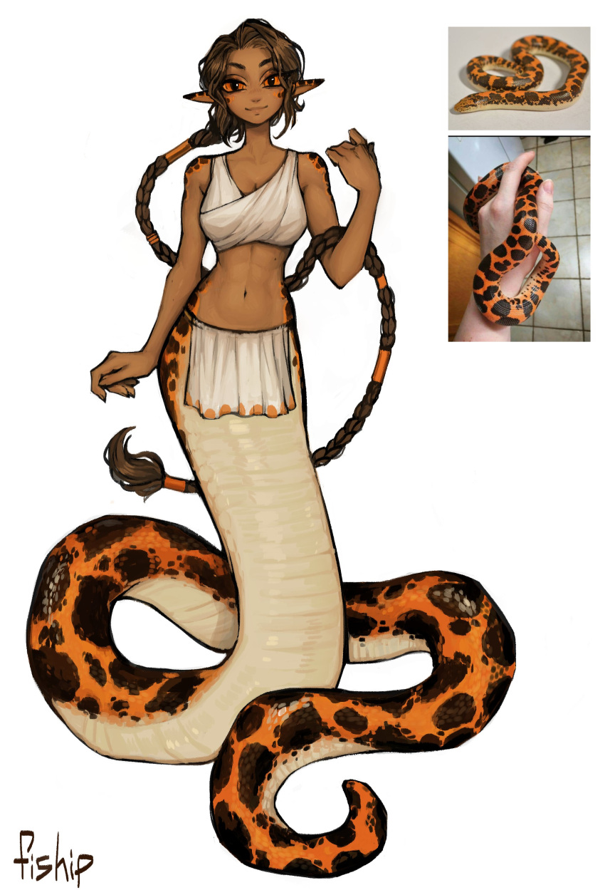 1girl absurdres artist_name bare_arms bare_shoulders braid breasts brown_hair colored_sclera commentary commission dark_skin dark_skinned_female earrings english_commentary full_body hair_tubes highres jewelry lamia long_braid looking_at_viewer matilda_fiship medium_breasts midriff monster_girl navel orange_sclera original personification photo-referenced pointy_ears reference_photo_inset scales simple_background smile snake solo white_background