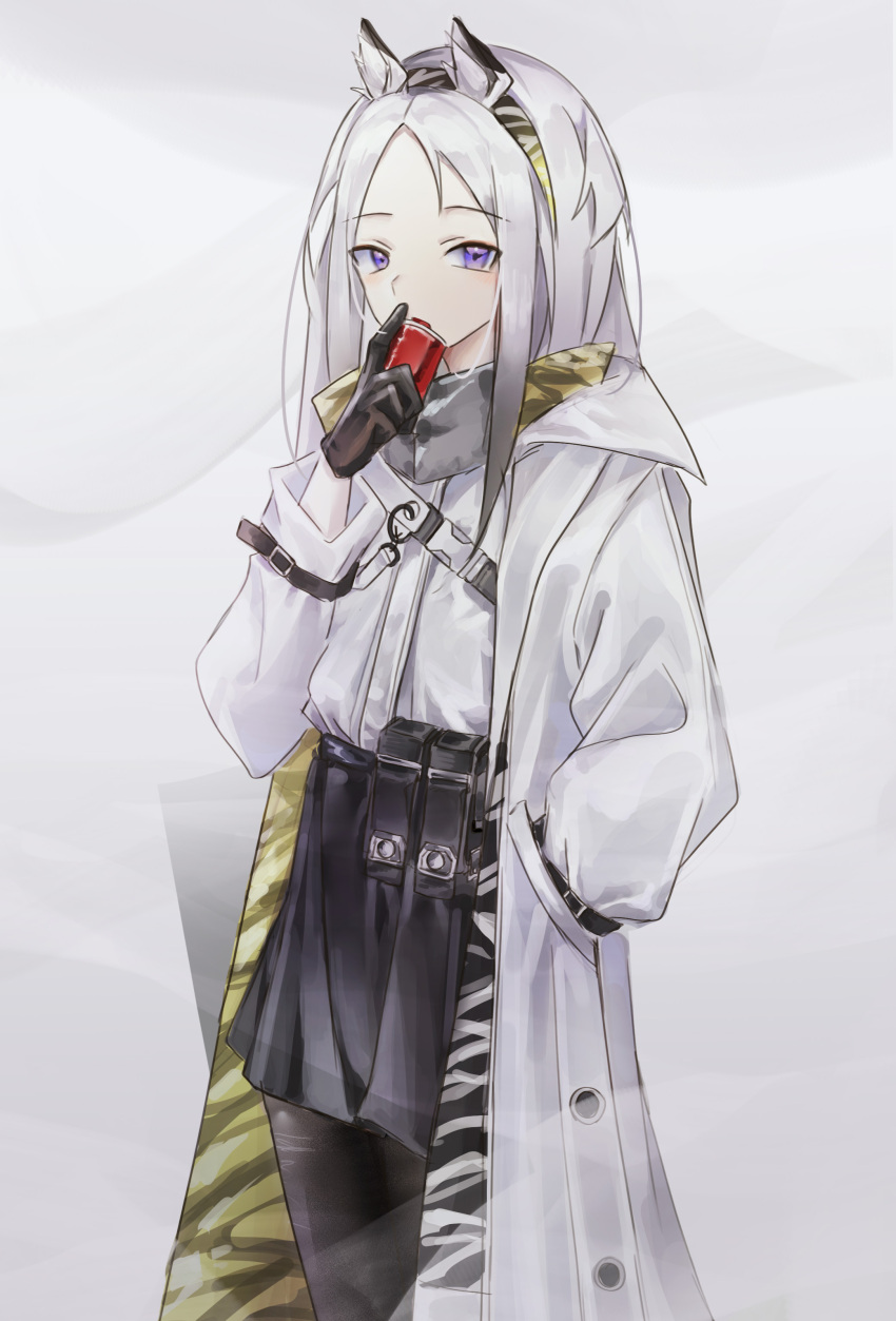 0_(znanimo) 1girl absurdres animal_ear_fluff animal_ears arknights bangs black_gloves black_legwear black_skirt can coat commentary cowboy_shot drinking gloves grey_background hairband heavyrain_(arknights) highres holding holding_can long_hair long_sleeves looking_at_viewer miniskirt open_clothes open_coat open_mouth pantyhose parted_bangs pleated_skirt pouch shirt silver_hair skirt solo symbol_commentary two-tone_hairband violet_eyes white_coat white_shirt zebra_ears