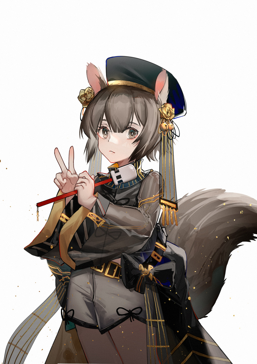 1girl animal_ears arknights bangs bell belt belt_buckle black_headwear blush bright_pupils brown_eyes brown_hair buckle closed_mouth cowboy_shot flower hair_bell hair_flower hair_ornament highres jingle_bell long_sleeves looking_at_viewer mallet_(instrument) official_alternate_costume rose see-through shaw_(arknights) short_hair shorts simple_background smile solo squirrel_ears squirrel_girl squirrel_tail tail v waist_cape white_background white_shorts wide_sleeves yellow_flower yellow_rose yuuki_mix