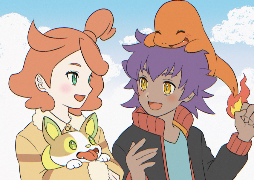 1boy 1girl :d bangs blush bright_pupils buttons charmander clouds commentary_request day eye_contact eyelashes fire flame gen_1_pokemon gen_8_pokemon holding holding_pokemon jacket leon_(pokemon) long_sleeves looking_at_another on_head open_clothes open_jacket open_mouth outdoors pokemon pokemon_(anime) pokemon_(creature) pokemon_on_head pokemon_swsh_(anime) punico_(punico_poke) short_hair sky smile sonia_(pokemon) tongue yamper younger