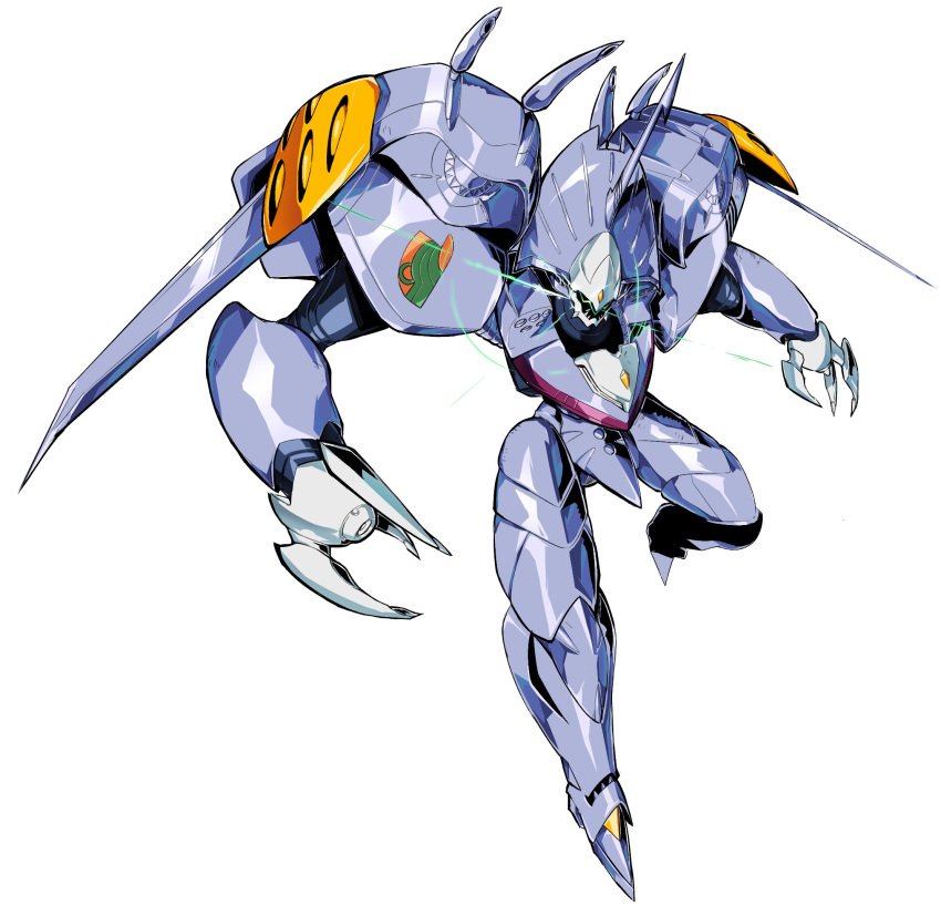 from_above glowing highres horns looking_up macross macross_7 mecha no_humans open_hands pillar_buster science_fiction single_horn solo variable_fighter white_background zaubergeran
